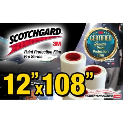 "12"" x 108"" Genuine 3M Scotchgard Pro Series Paint Protection Film Bulk Roll Clear Bra Piece"