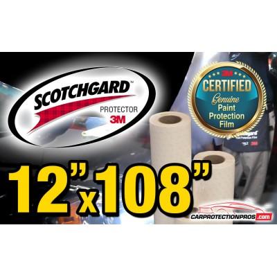 """12"""" x 108"""" Genuine 3M Scotchgard Paint Protection Film Bulk Roll Clear Bra Piece"""
