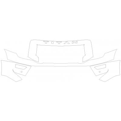 2020-2021 Nissan Titan XD Platinum Reserve 3M Pro Series Clear Bra Front Bumper with Grille Paint Protection Kit